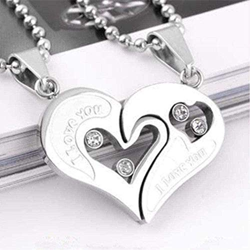NC163 Collar Hombre Mujer Pareja Necklac Love Heart Stitching Peant Puzzle Matching Two Mitades Heart Gift-Silver Peant Collar para Mujeres Hombres