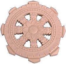 栗田仏像ブランド【法器】法輪(直径5cm)両面彫り 桧木製木彫仏具 28046