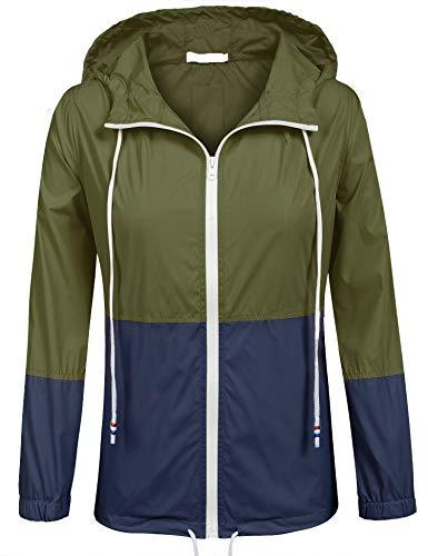 SoTeer Windbreaker Raincoats Waterproof Lightweight Rain Jacket Outdoor Hooded Women's Trench Coats (Army Green/Navy Blue L)