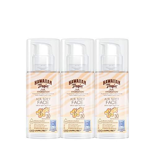 Hawaiian Tropic - Silk Hydration Air Soft Face - Loción de Crema Solar Facial Protectora para el Rostro SPF 30, Crema Hidratante Facial con Protección, Pack de 3, 50 ml.