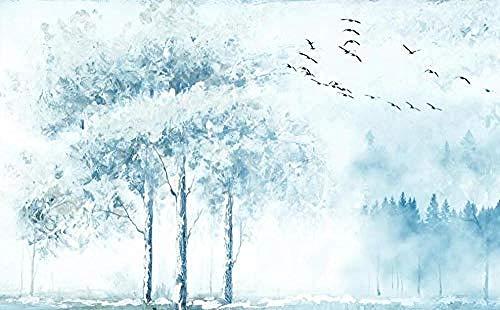 Murales de pared de aves del bosque de tinta dibujados a mano Pared Pintado Papel tapiz 3D Decoración dormitorio Fotomural de estar sala sofá mural-430cm×300cm