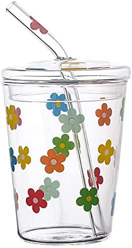WQF Taza de Jugo, Vaso de Vidrio con Tapa, Taza de batido Reutilizable, Tapas de Botellas para Beber, Bebidas de Agua
