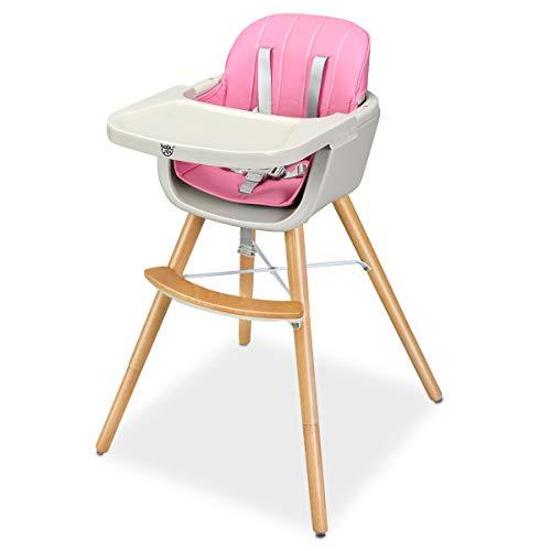 GOPLUS Babyhochstuhl Holz, Kinderhochstuhl mit 5-Punkt Sicherheitsgurt, Treppenhochstuhl Baby-Fütterungsstuh Kombihochstuhl Holzhochstuhl Kinder (Rosa)