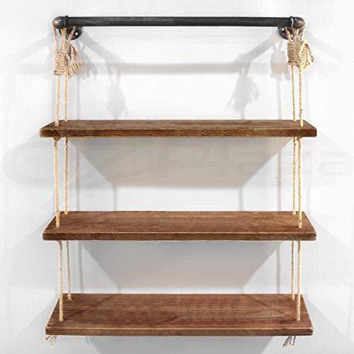 Verkoopstandaard voor decoratie voor huis/industrieel, Amerikaanse windslang, wandbevestiging, decoratief, van hout, deur hennep, touw, rek, verkoopstandaard (kleur: zwart, maat: 61 x 25 x 3 cm) 61x25x3cm Zwart