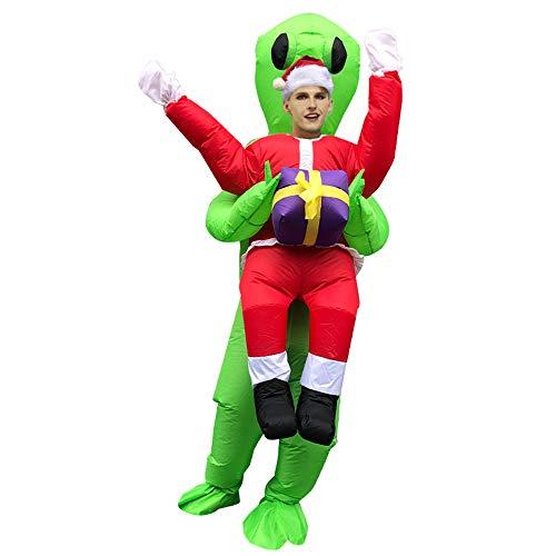 CHOBES Utomjording kostym uppblåsbar utomjording håller jultomten kostym för jul vuxen uppblåsbar fin klänning