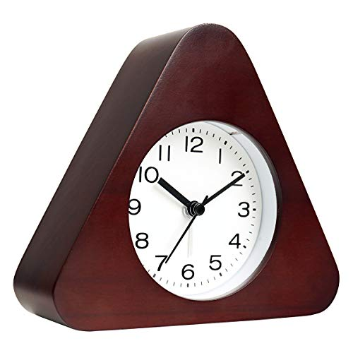 AROMUSTIME 3-Inches Triangle Wooden Alarm Clock with Arabic Numerals, Non-Ticking Silent, Backlight, Battery Operated, Brown