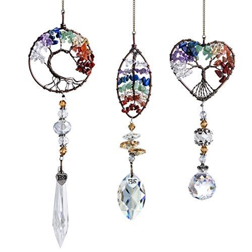 HampD HYALINE amp DORA Handmade Chakra Suncatcher Window Hanging Crystal Drop Prism OrnamentsPack 3pcs