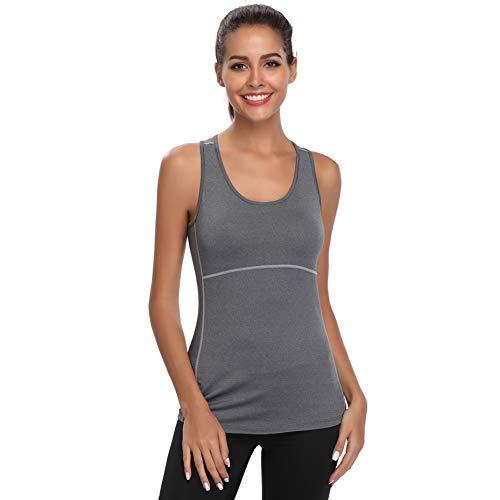 Joyshaper Sport Top Damen Sportoberteile Quick Dry Tank Top Dehnbare Sportshirt Training Shirt für Yoga Fitness Joggen oder als Alltägliche Sommer Kleidung, Grau, M