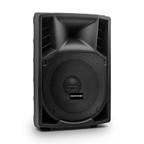 auna Pro PP-2215A - Box PA attivo, altoparlante box a 2 vie, altoparlante PA, Alimentazione 120 W, 38 cm (15   ) - Subwoofer, Gamma di frequenza: 40 Hz - 18 kHz, ABS, maniglia trasporto, nero