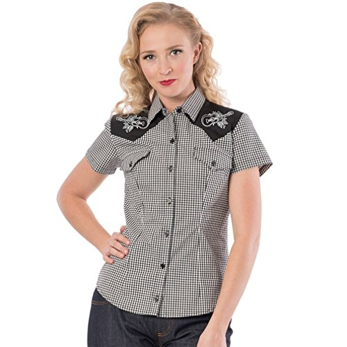 Steady Clothing Western blouse - Rockabilly Rose Zwart