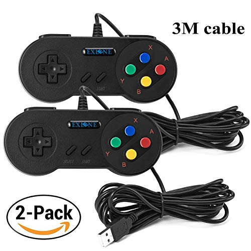 EXLENE 2 Pack SNES USB mando Controlador Gamepads 10ft/3m, Super Snes Classic Controller para PC Windows Ubuntu Raspberry Pi 3 Retropie Sega Genesis (Negro)