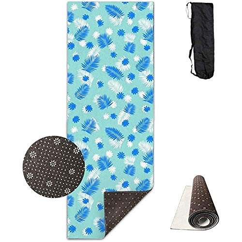 KDU Fashion Large Exercise Mat, Hawaii Tropical Blue Palm Leaves Moderne decoratieve grote fitnessmatten voor thuis-oefeningen