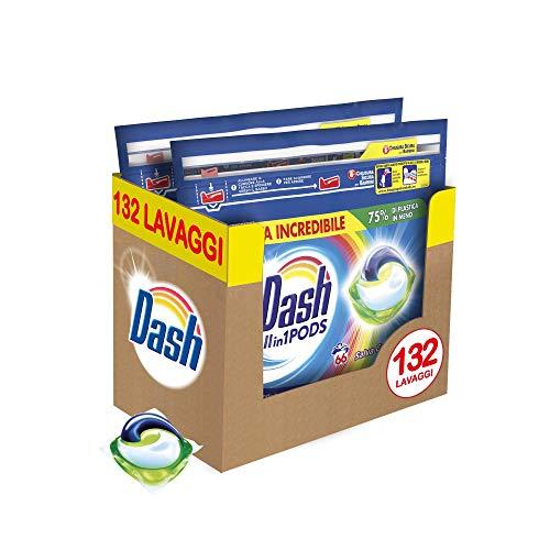 Dash All in 1 Pods Detersivo Lavatrice in Capsule Salva Colore, Maxi Formato 2 x 66, 132 Lavaggi