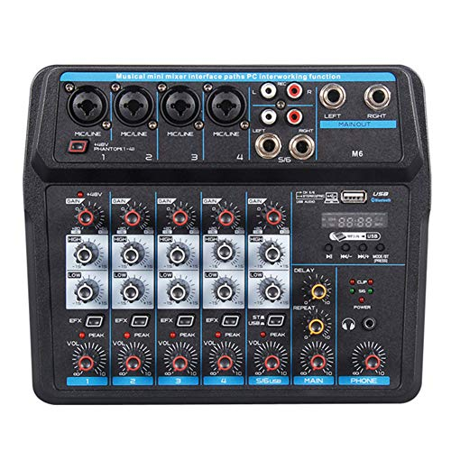 Fxhan Sound Mixing Console Record 48V 4/6 Channels Audio Mixer met USB-Mic Interface