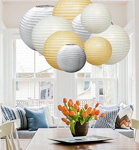 Een Liittle Tree 9 PC's Gemengd Papier Lantaarns Lamp Bruiloft Verjaardag Party Decor (Winter Shade)