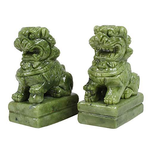 LINGS Una Coppia di Statue di Guardiani in Pietra Verde, i Leoni di Pechino, i Cani Fu Foo, la Decorazione Cinese Feng Shui per la casa e L'Ufficio,Medium