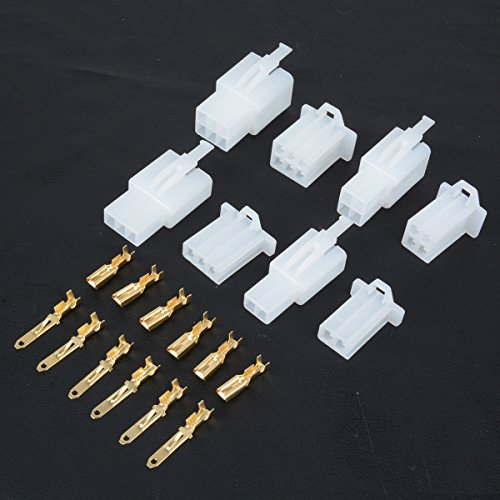 380PCS 2.8mm Pitch 2 3 4 6 Pin Mannelijke Vrouwelijke Plug Behuizing Pin Header krimpdraad Terminals Connector Assortiment Kit voor Auto's, Bromfiets, Quad Bike, Tricycle