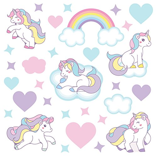 GET STICKING DECOR® Unicornio Caballo Pegatinas De Pared/Calcomanías Colección, CutePastelUnicorns Unic.12, Vinilo, Multi Color. (Large)