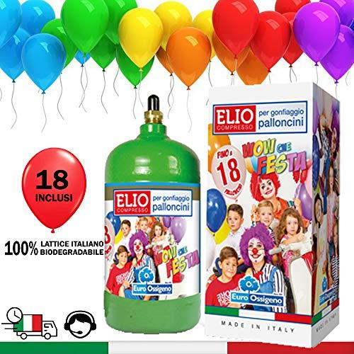 KREA BOMBOLA di Elio per GONFIARE Palloncini con 18 Palloncini Lattice Italiano Inclusi in Omaggio