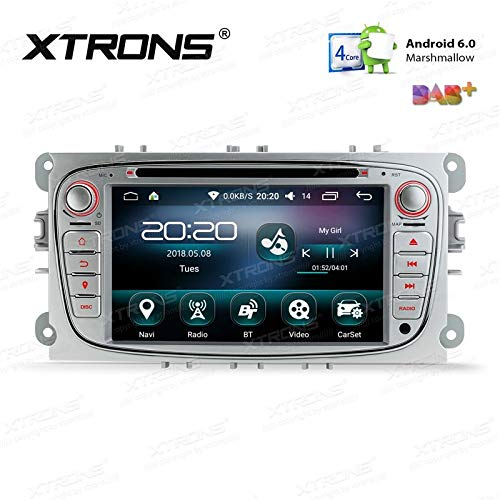 XTRONS PS76FSF-S Autoradio 7 inch 2 DIN DVD USB GPS Bluetooth WiFi Android voor Ford grijs
