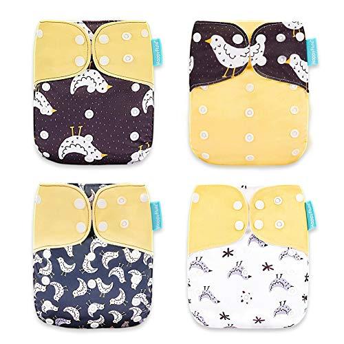 HahaGo 4 STKS Baby Doek Luier Wasbare Herbruikbare Luiers Invoegen All-in-One Pocket luier voor de meeste Baby's en Peuters Geel, vogel