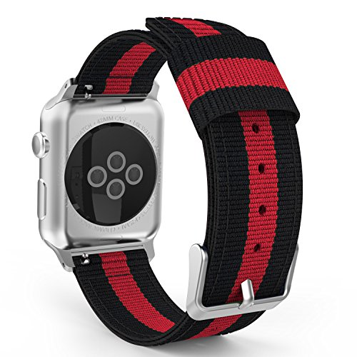 MoKo Band Compatible with Apple Watch 42mm 44mm Series 5/4/3/2/1, Fine Woven Nylon Adjustable Replacement Band Wristband Sport Strap Fit Apple Watch Nike 42mm 44mm, Black & Red