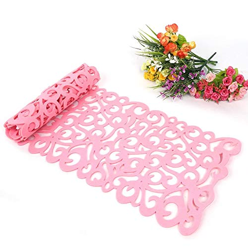 Vilt Tafelloper, Hollow Flower Design tafelkleed Mats Table Placemats Coasters kan worden gebruikt als een accessoire voor uw Dining Room Decoration, Washable,Pink