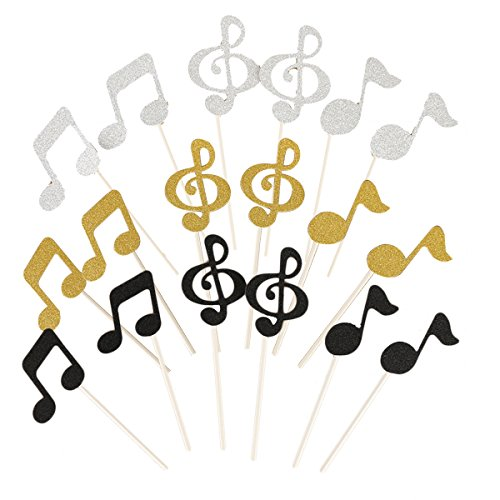 Healifty Topper torte a forma di note musicali glitter per decorazione 18PCS