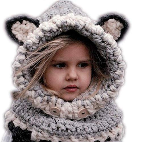 New Design Velvet Hat Cap Baby Cat Ear Winter Warm Beanie Hat Kinderen winddicht Hat Sjaal Boy Girl Handgemaakte gebreide mutsen (Color : Gray)