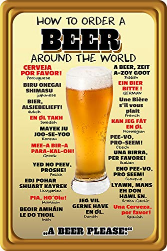 FS spreuk How to Order a Beer aroud The World Bier wereldwijd bestellen metalen bord bord 20 x 30 cm