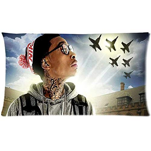 LuckyAppleStore Custom Cotton & Polyester Soft Rectangle Zippered Pillow Case Cover (Two Sides) - Movie Star Music Singer Band Series - America Rap Singer Wiz Khalifa Tattoo Us Airforce F-22 Rapto Jet Fighters patroon Gepersonaliseerde Pillowcase