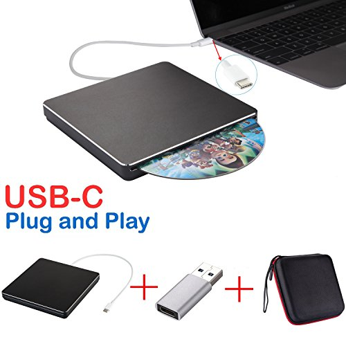 USB-C SuperDrive externe CD-/DVD-station, CD-/DVD-brander, CD/DVD+/-RW, gegevensoverdracht met hoge snelheid voor Mac/MacBook Pro/laptop/desktop-PC, ondersteunt Windows 10/7/8, Mac OSX 13.8x13.8x1.6cm zwart