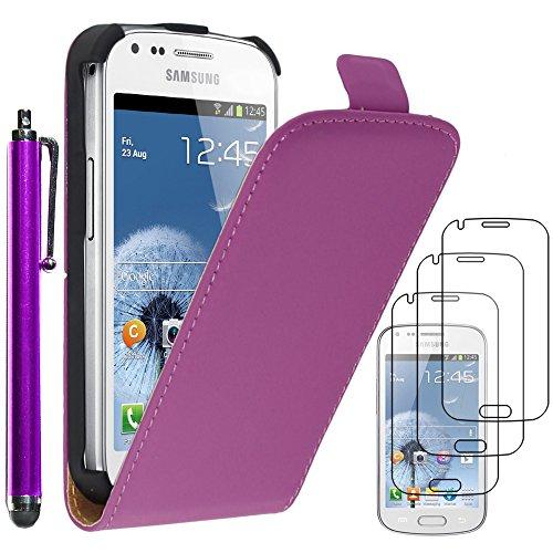 ebestStar - Funda Compatible con Samsung Galaxy Trend S7560, S Duos S7562 Carcasa Ventana Vista Cover Cuero PU, Funda Billetera + Lápiz +3 Peliculas, Violeta [Aparato: 121.5 x 63.1 x 10.5mm, 4.0'']