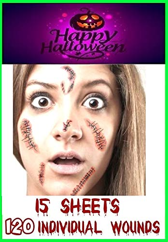 RMCtrends [Pack van 15 vellen Halloween Tattoos Face Paint Fancy Dress Party Kostuum Make-up Tijdelijke Tattoo Stickers Decoratie Nep Wonden Littekens en Stitches make-up masker