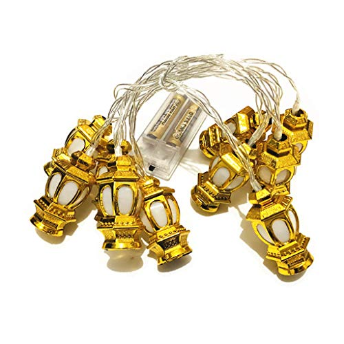 Angelliu Lichtslingers 1pc, 10 Stuks LED Palace Lantern Shape, AA-batterijverlichting Ramadan Lantern Decorations For Home, Party