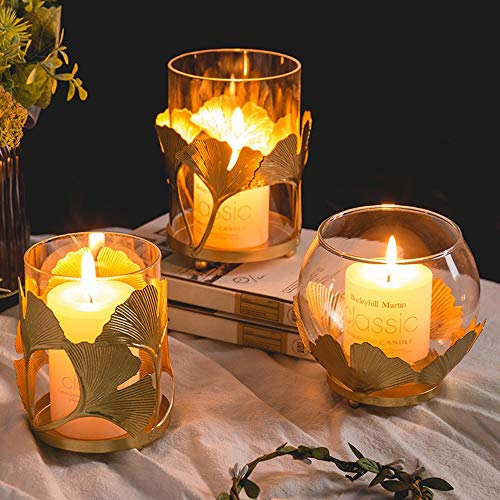 WZNING Iron Glazen kaarshouder Golden Ginkgo Leaf Candle Holder Decoration Nordic romantisch diner bij kaarslicht Prop Eettafel Huis European Light Luxury Kandelaar (Color : 02(S:10.5 * 8cm))