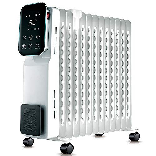 Radiator met 13 fijne olievulling, intelligente space-heater met 12-uurs timer-afstandsbediening, digitale thermostaat, omkiepen en oververhittingsbeveiliging, bluetooth-functie wit