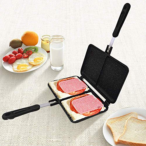 Sandwich Broodrooster 2 Slot Dubbelzijdig broodrooster Panini Maker Waffle Iron Non-Stick Omelet Pan for Gasfornuis jilisay