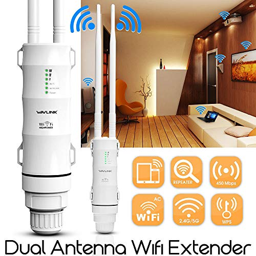 WAVLINK repetidor Wi-Fi Impermeable (Exterior CPE/WiFi Extensor/repetidor/Punto de Acceso/Router/WISP 2,4 GHz 150 Mbps + 5 GHz 433 Mbps Doble Plomo 1000 MW 28 dBm omnidireccional