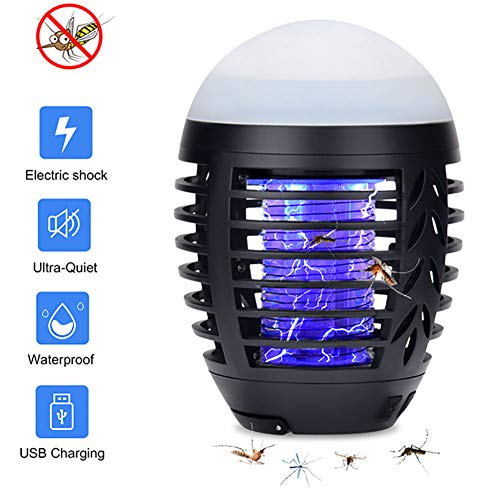 Mosquito Killer Lamp UV Bug Zapper Camping Lantern, 2 in 1 Portable IP67 Waterproof Tent Light Insect Killer USB Oplaadbaar, 3 verlichtingsmodi voor binnen en buiten