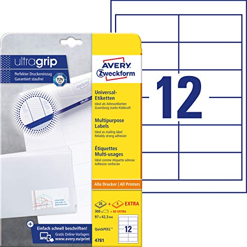 Avery-Zweckform Universal Labels, White 97x42,3mm, 97 x 42.3 mm