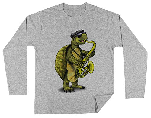 Schildpad Playing De Saxofoon Unisex Kinder Jongens Meisjes Lange Mouwen T-shirt Grijs Unisex Kids Boys Girls's Long Sleeves T-Shirt Grey