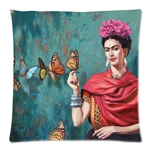 Cuscino colorato Dimensioni 45x 45cm Cuscino Frida Kahlo Pillow Case Firm Flower Self-Portrait Farfalla Decorativa Camera da Letto o Divano, Cuscino per Divano, A5, 45 x 45CM