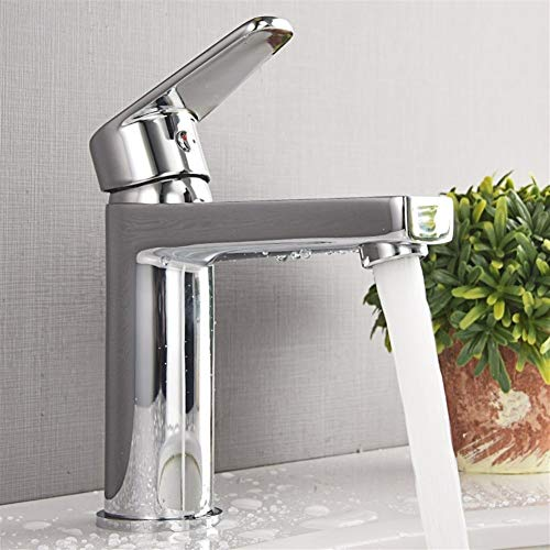 Badkamer Regular Tuit Basin Mixer Tap Badkamer Tall Sink Tap Single Lever Kraan Verchroomd Messing Hot Cold Mixer Tap,5 Jaar Garantie Gemakkelijk schoon te maken, Eenvoudige Installatie,