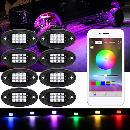 C-Funn 8 stuks RGB LED verzonken lampen lamp Rock Bluetooth Wireless Control voor Boot Offroad DC 12V