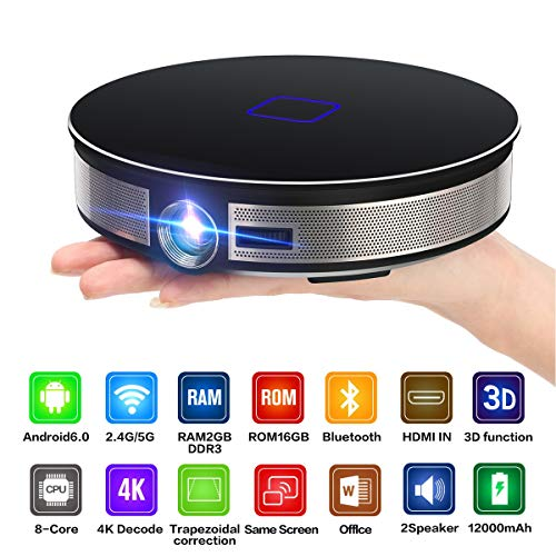 WXJZ Mini Beamer Full Hd Bluetooth 3D Speaker projector Mini Wireless 300'' Display videoprojector met HDMI/USB/IR/TF-apparaat smartphone thuisbioscoop