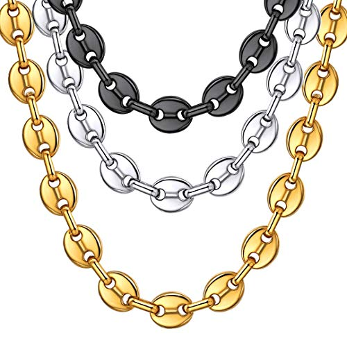 ChainsHouse Collar Corazón Granos de Café Platinos Negros Dorados Cadenas 5mm 10mm de Ancho 46-76cm de Largo, Gratis Caja de Regalo, Fashion Coffee Beans Chain Necklace for Women Men