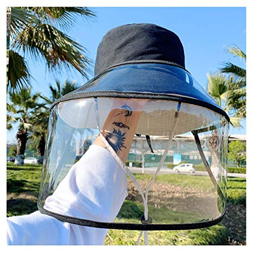 Gezicht Shield, Honkbal Bucket Hat, Full Face Screen beschermend masker Safety Wide Vizier, stofdicht winddicht Outdoor Riding Vissen,Black