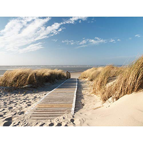 Fotobehang Strand Zee Fleece Wallpaper Woonkamer Slaapkamer Kantoorgang Decoratie Muren Moderne Wanddecoratie - 100% Made in Germany - 9008bP 308 x 220 cm - 7 sheet stripes B
