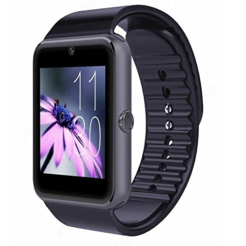 Smart Watch,GT08 Bluetooth Smart Watch met SIM-kaartsleuf en NFC Smart Health Watch voor Android(volledige functies) en IOS(gedeeltelijke functies) Armband Smartwatch, Zwart